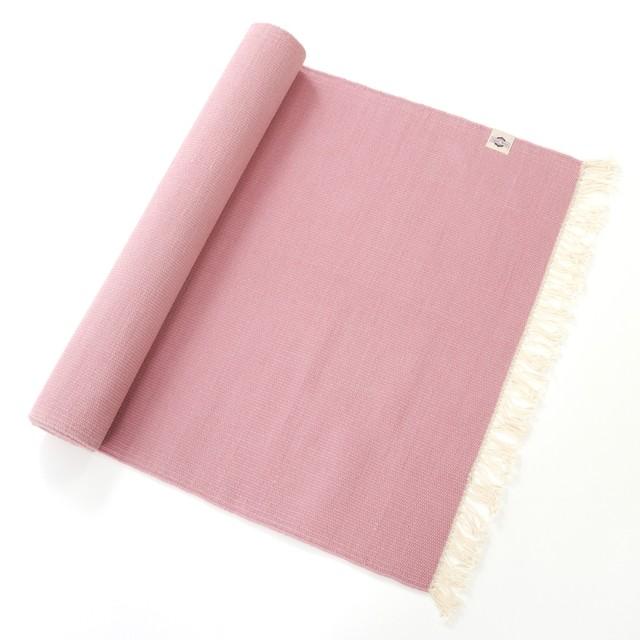 オーガニックコットン ヨガラグ 天然染料ピンク Peach Pink 小 175x65cm