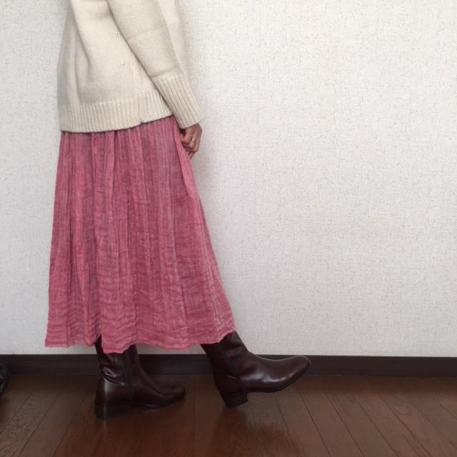 ふんわりサラサラ贅沢リネンのスカート::ビタミンピンク