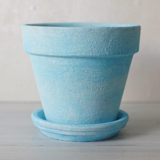 (spring sky blue RM02) スプリングスカイブルー水色の植木鉢 リム型ポットM+トレイ