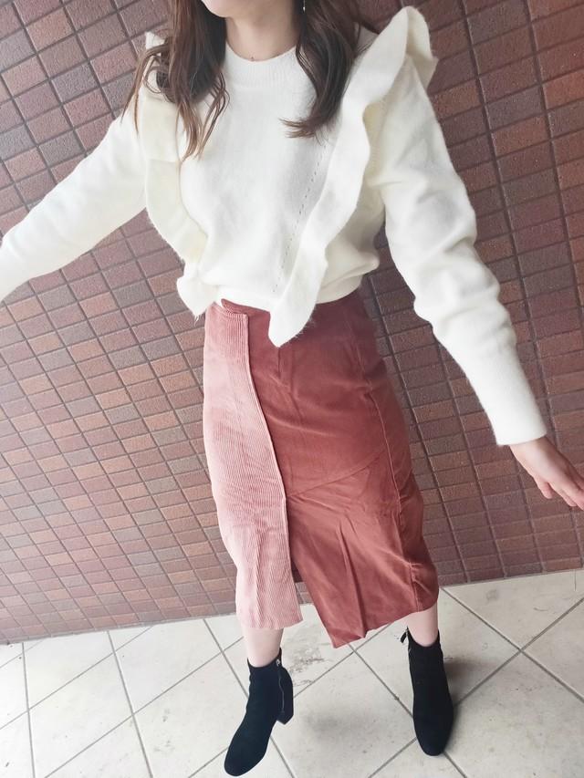 Corduroy Skirt【Pink×Red】