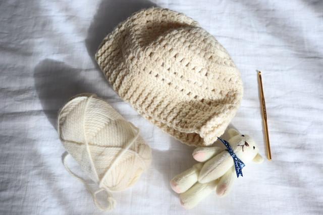 キッズsize ◆Hand-knitted beanie / 手編み*ざっくり玉編みのニット帽