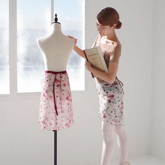 薔薇柄フィッシュテール巻きスカート