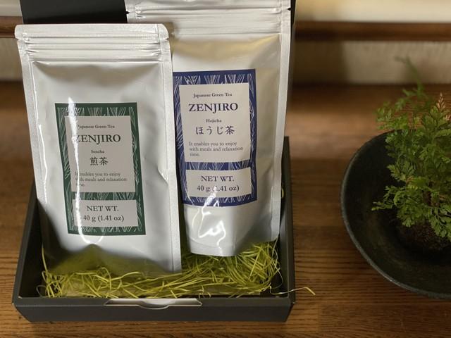 ギフトセット 02:煎茶 40g+ほうじ茶40g「良きお茶セット」