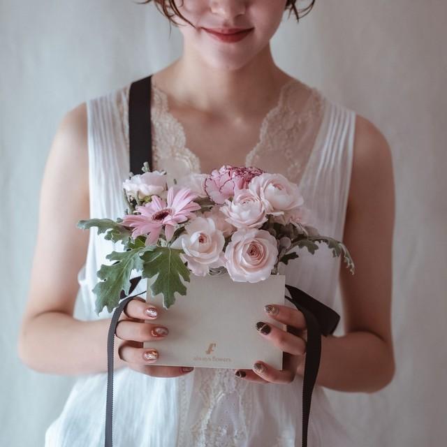 フラワーバッグアレンジ 生花 ピンク/Flower BAG Pink