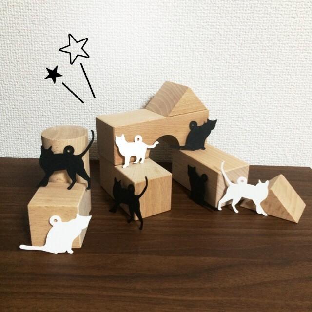猫形タグ 白 15枚入  3シルエット各5枚入