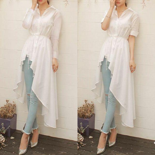 レディース タキシード カーディガン シャツ ブラウス 春コーデ / Women's long-sleeved tuxedo cardigan shirt slim thin blouse (DCT-565072888193)