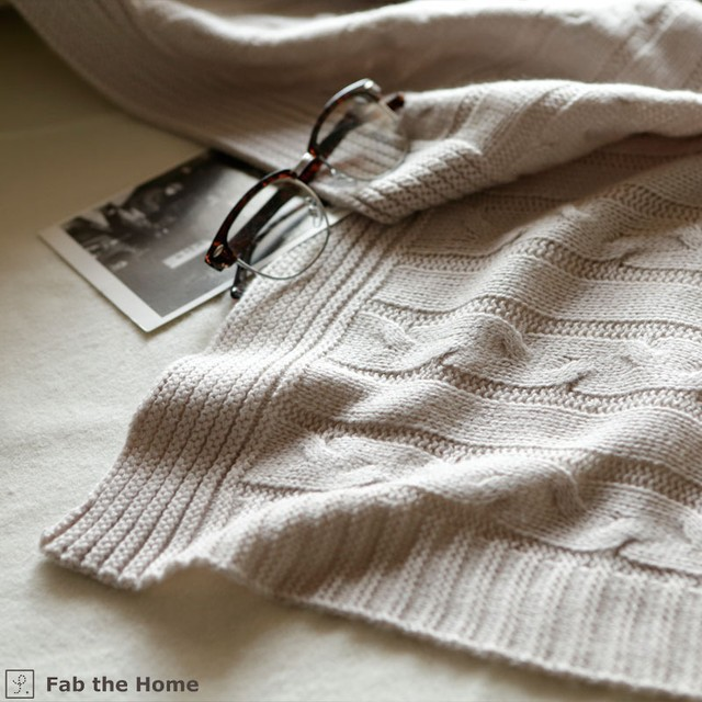 Cable Knit マルチカバーMサイズ ストーン  fab the home 森清 FH157511