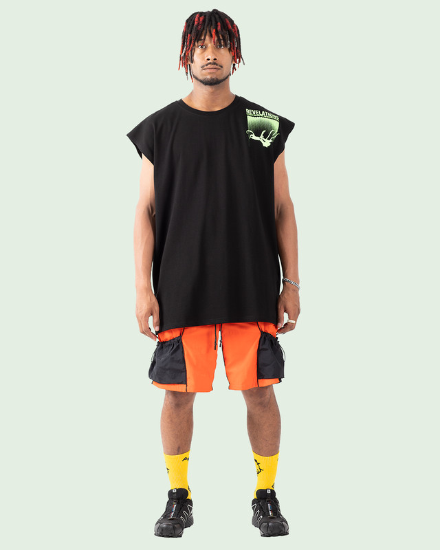 OVERSIZED REFLECTIVE REVELATIONS N/S TEE BLACK