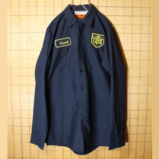 70s 80s USA製 REDKAP レッドキャップ ワッペン ワーク シャツ ネイビー メンズM 長袖 UPS アメリカ古着 040721ss91