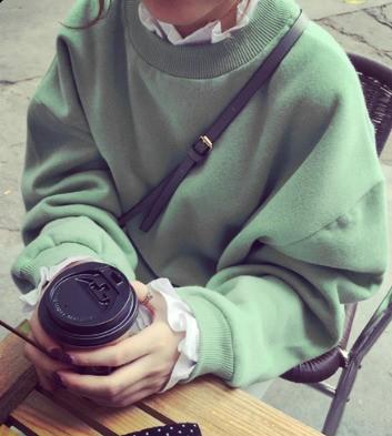 【取寄】ミントグリーン/ブラックの秋色オルチャントレーナー♡首回りのフリルがアクセント♡大人気韓国ファッション