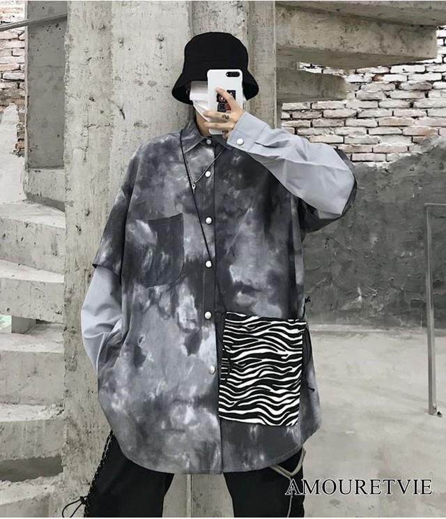 2019 秋 レディース 新作 トップス シャツ 黒 ブラック アシンメトリー カジュアル ユニセックス オルチャン 韓国ファッション 923