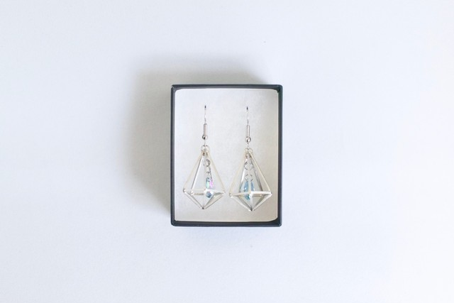 Himmeli Decahedron Jewelry + Swarovski - Pierce/ Earring (Silver color) スワロフスキーと宝石型十面体のピアス/イヤリング