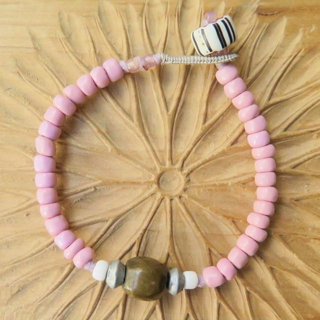 ピンクマサイ +アフリカンブラス ブレスレット