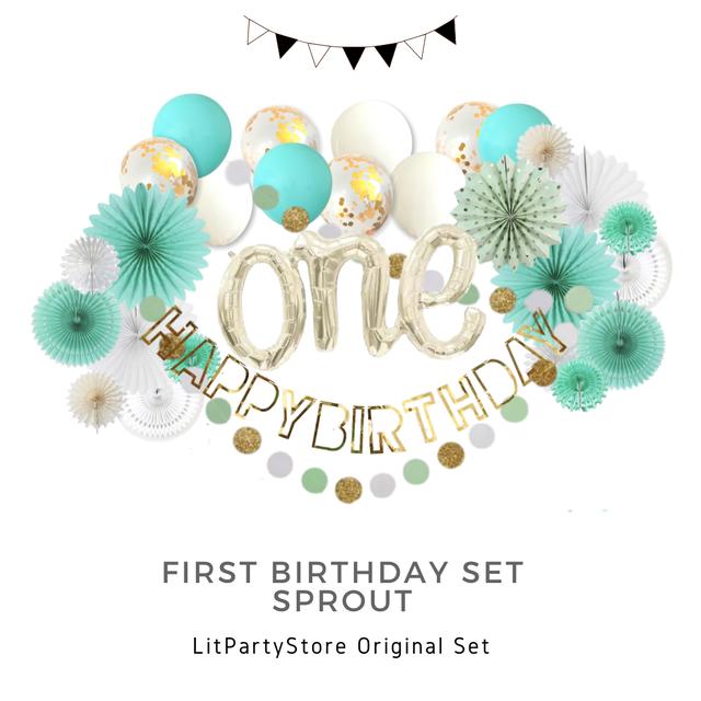 【ファーストバースデーセット/スプラウト】   グリーン 誕生日 装飾 デコレーション バースデー 1歳 100日 おうちスタジオ 飾り パーティー バルーン バナー