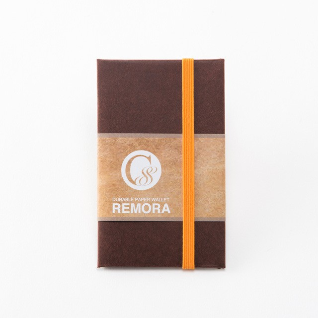 "Durable Paper Wallet ""REMORA"" / Brown&Orange"