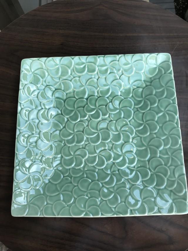 ジェンガラ・ケラミック 食器 四角 大皿 フランジパニ プレート FRANGIPANI Extra Large Full Pattern Square Plates