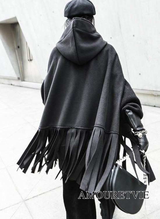 コート ジャケット アウター タッセル 黒 ブラック スタイリッシュ フリンジ フード付き モード系 ヴィジュアル系 1159