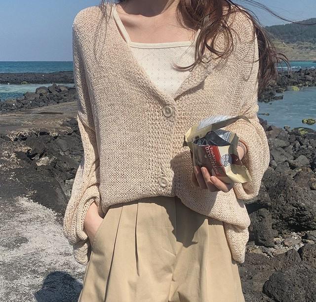 オーバーサイズ ゆったり シースルー かぎ網サマーニットカーディガン WN140 韓国ファッション シンプル 夏 デイリー