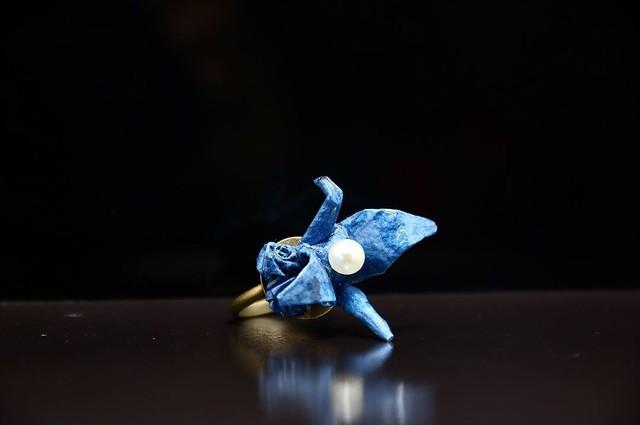 【washi】リング 鶴×バラの華 ブルー
