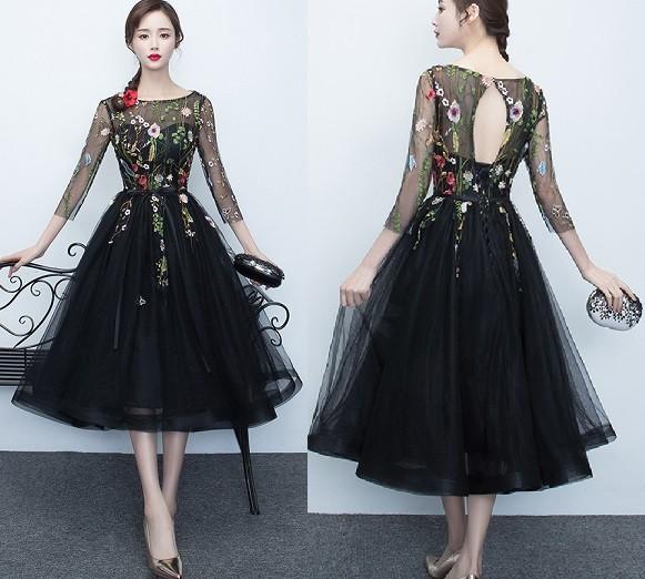 花 刺繍 シースルー ワンピース ドレス■D01