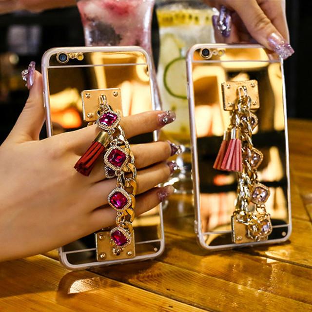 アラビアン カラーストーン iPhoneケース ブレスレット 背面ミラー ★ iPhone 6 / 6Plus / 7 / 7Plus ★ [KS085]