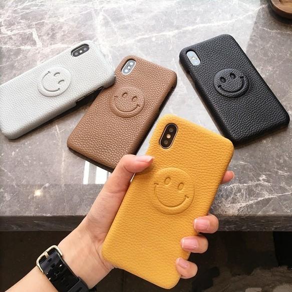 XR,XSMAX対応★iphoneケース iphone6/7/8/6plus/7plus/8plus/iphoneX スマイル レザー風