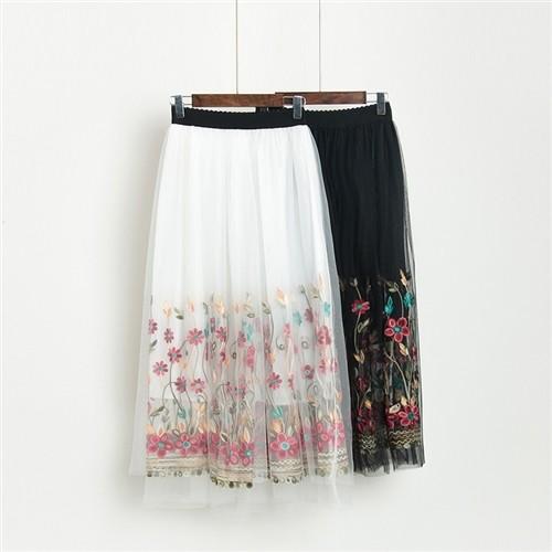 【予約商品】レトロ配色花模様チュールスカート