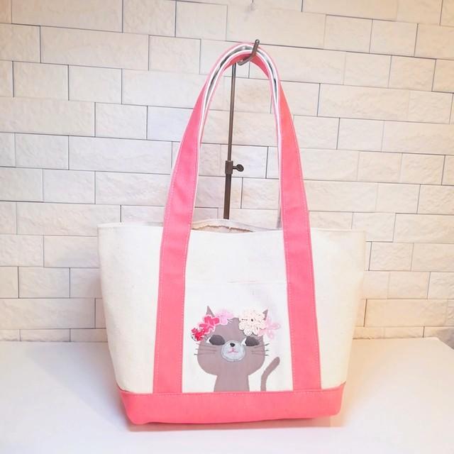 【New】トートバッグ 少し小さめ 帆布 肩にかけられる! ピンク×キナリ 猫 ロシアンブルー 花冠