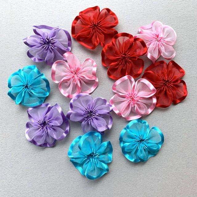 ふちリボンチュールのお花デコパーツ