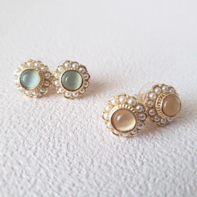 【Import】コンポートビジューピアス Peach beige/Mint green ピーチベージュ/ミントグリーン
