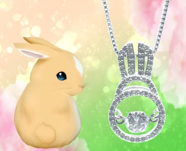 【ネックレス】ウサギ 尻尾 が 揺れる ジルコニア シルバー925 レディース 刻印