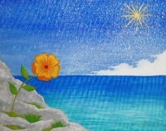 諦めても咲く岸壁の花の絵 アクリル画