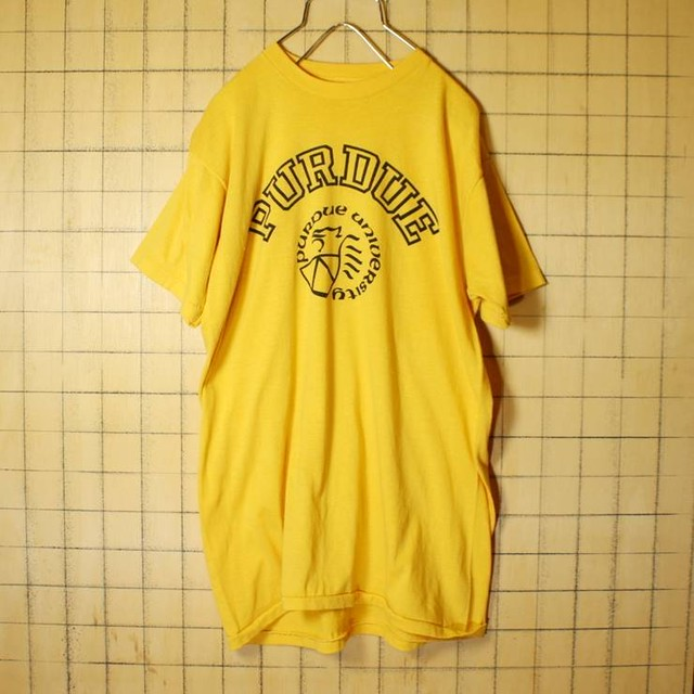 70s 80s USA製 カレッジ プリント 半袖 Tシャツ イエロー 黄色 メンズXL PURDUE Action Sportswear 古着 051320ss58