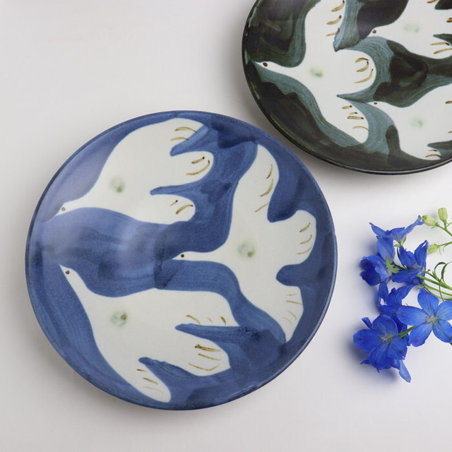 【やちむん】7寸皿 鳥/ [Yachimun] Plate 21cm 'Bird'