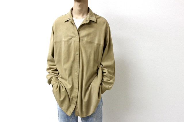nubuck leather shirt from Europe ヨーロッパ ヨーロッパ古着 スエードシャツ ヌバックシャツ レザーシャツ イタリア フランス レザー ヌバック スエード メンズ古着 古着