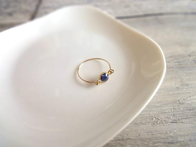 【受注生産】14kgf指輪×silver925 枠の天然石■アイオライト