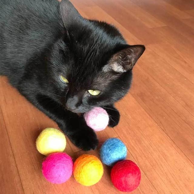 猫のおもちゃ 猫用 フェルトボール 大き目L3.5cm  6カラーパック マカロンカラー