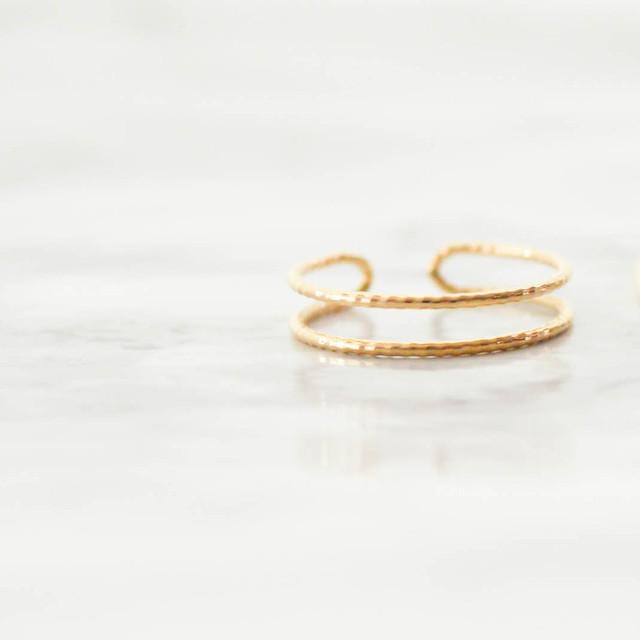 K10 Dia Cut double Line Ring