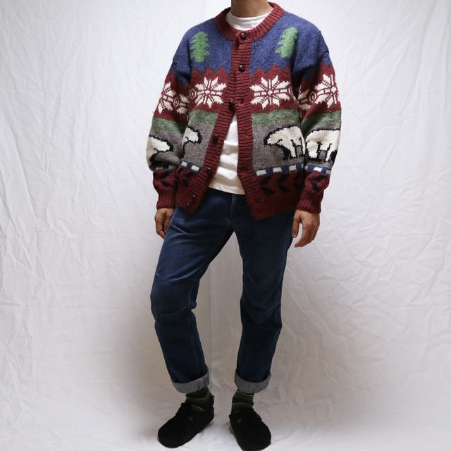 """古着""Position Five Nordic Knit Cardigan"