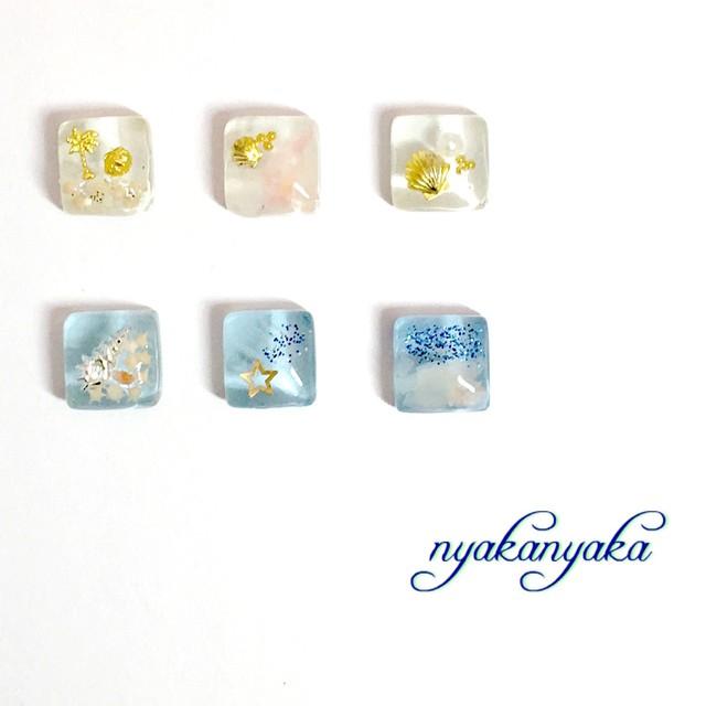 【プチデコ】マリンアレンジガラスタイル ピアス/イヤリング/ヘアピン/リング