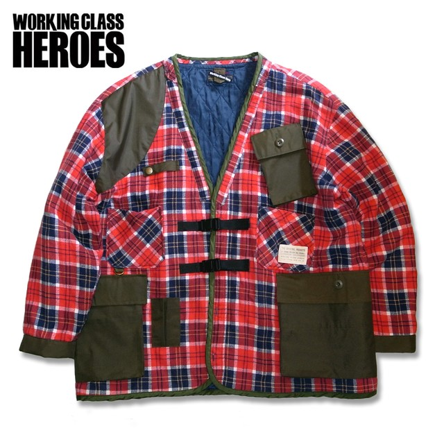 WCH Remake Quilting Flannel Gardening Jacket -Red/Navy/White