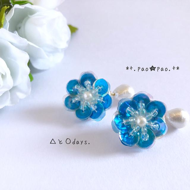 Blue Flower.+*幸せのサムシングブルー(イヤリング・ピアス)