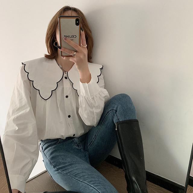 韓国ファッション 人形の襟 ゆったりする トップス 長袖 シャツ