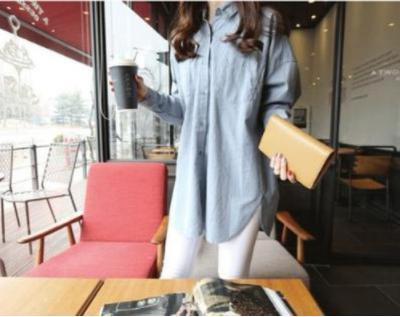 ブルー Sサイズ 綿100% ビッグシルエット シンプル シャツ バック ジップ ohab306