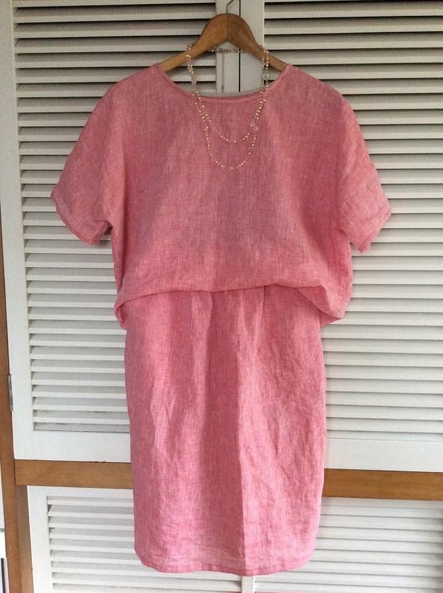 受注制作:ザブザブ洗える、上質リネンの布帛Tシャツ