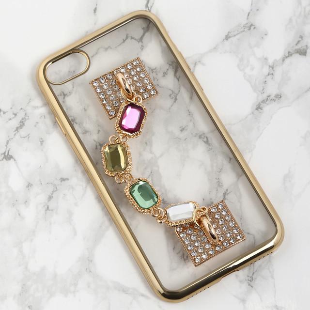 【送料無料】縁ゴールドのソフトケース&カラフル落下防止ベルト iPhoneケース