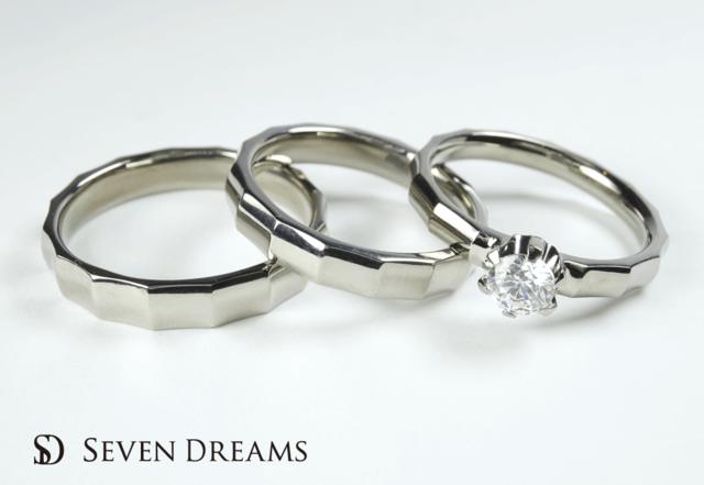 チタン婚約・結婚指輪3点セットリング 金属アレルギー対応<S-4>