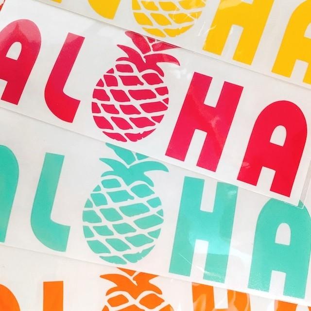 ハワイ製 ステッカー ALOHA パイナップル