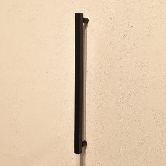 【ムク_ドアハンドルA2両面タイプ600(W-MUK1952-W600)】サンドブラック