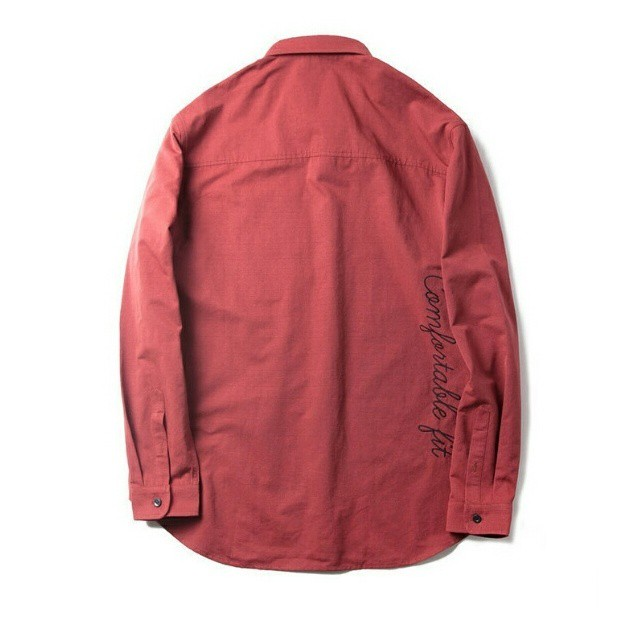 送料無料メンズ大きいサイズ/品のいい/バックロゴ/茶色/長袖シャツ